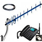 Kit Celular Rural Telefone 2 Chip Cabo Antena 22dbi